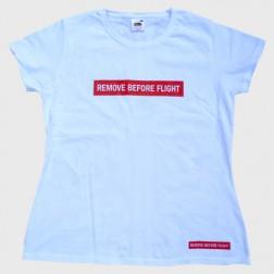 """Damen T-Shirt """"REMOVE BEFORE FLIGHT"""""""